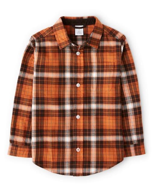 Boys Long Sleeve Plaid Twill Button Up Shirt - Harvest