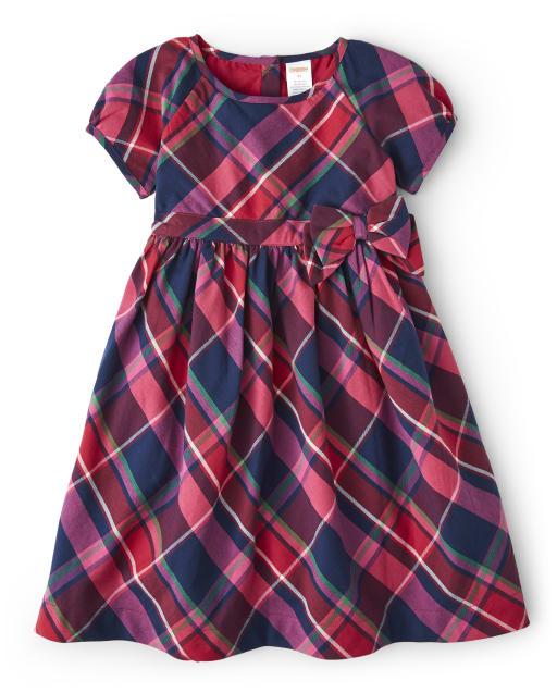 Girls Short Sleeve Plaid Twill Dress - Candy Apple