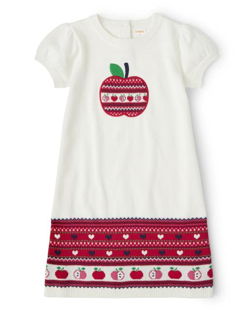Girls Long Sleeve Fairisle Apple Sweater Dress - Candy Apple