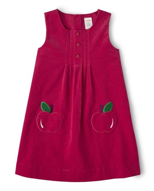 Girls Sleeveless Applique Apple Corduroy Jumper - Candy Apple