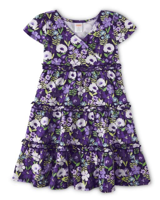 Vestido cruzado de punto con estampado floral violeta de manga corta para niñas - Whooo ' s Cute