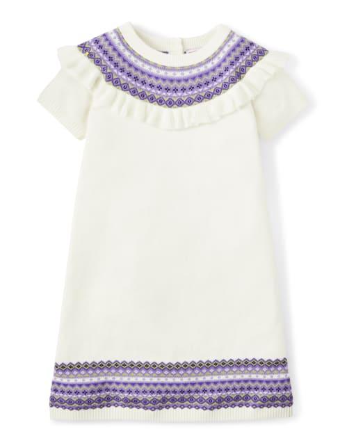 Vestido de suéter Fairisle de manga corta para niñas - Whooo ' s Cute