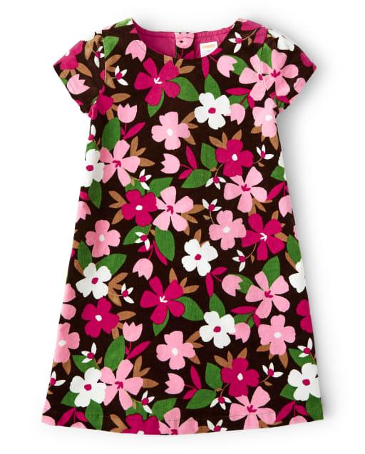 Vestido niña de pana de manga corta con estampado floral - Pony Club