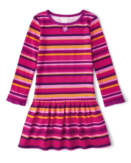 Girls Long Sleeve Applique Flowers Striped Knit Dress - Berry Cute