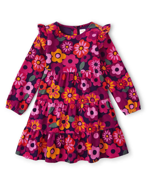 Girls Long Sleeve Floral Print Corduroy Tiered Dress - Berry Cute
