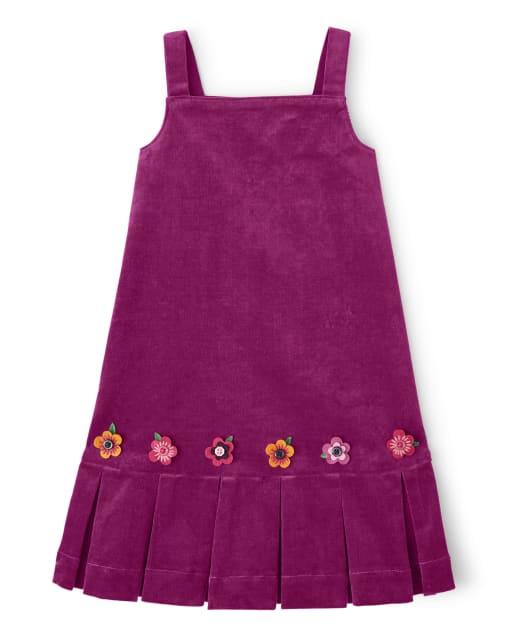 Girls Sleeveless Applique Flowers Corduroy Jumper - Berry Cute