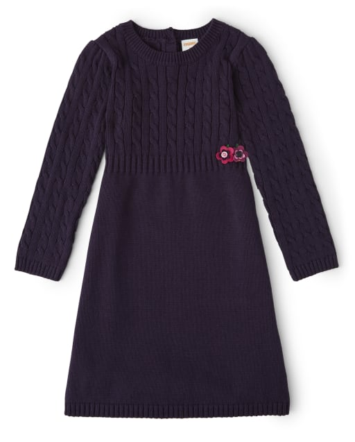 Girls Long Sleeve Applique Flowers Sweater Dress - Berry Cute