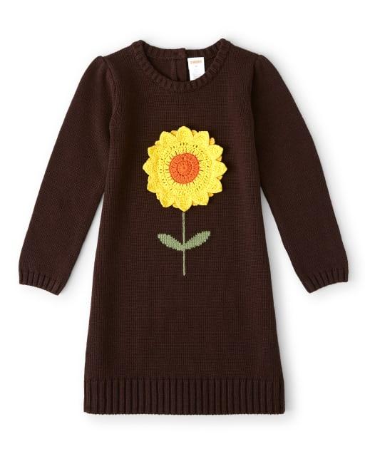Girls Long Sleeve Crochet Applique Sunflower Sweater Dress - Harvest