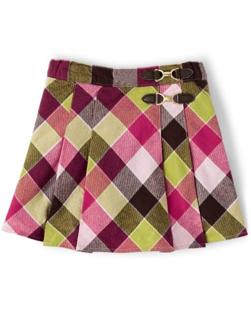 Falda pantalón plisada de franela a cuadros para niñas - Pony Club