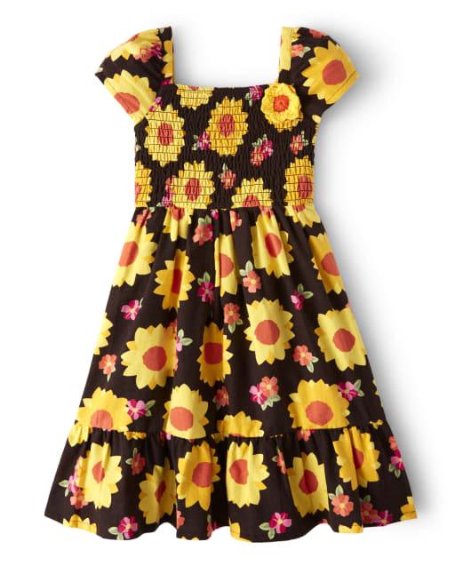 Girls Short Sleeve Sunflower Print Flannel Smocked Dress - Harvest