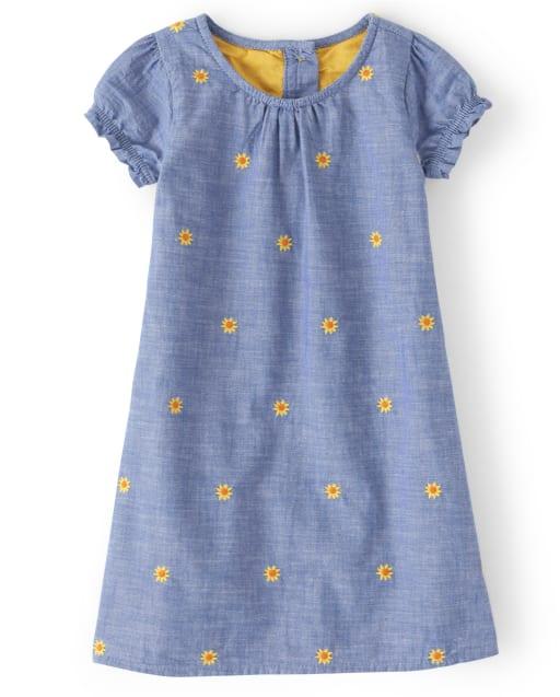 Girls Short Sleeve Embroidered Sunflower Print Chambray Shift Dress - Harvest