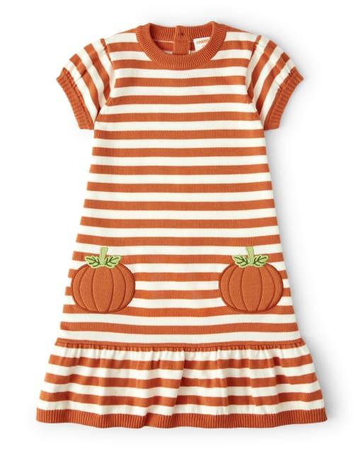 Vestido niña suéter de rayas de calabaza con apliques de manga corta - Lil ' Pumpkin