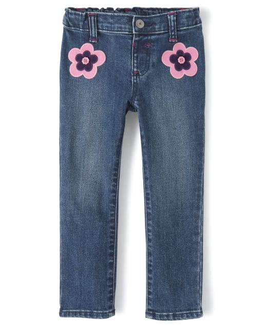 Girls Embroidered Flower Jeans - Berry Cute