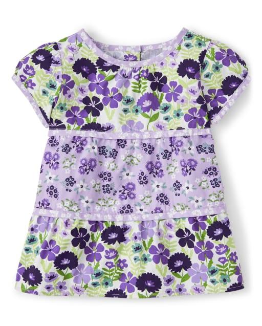 Top de popelina de manga corta con estampado floral violeta escalonado para niñas - Whooo ' s Cute