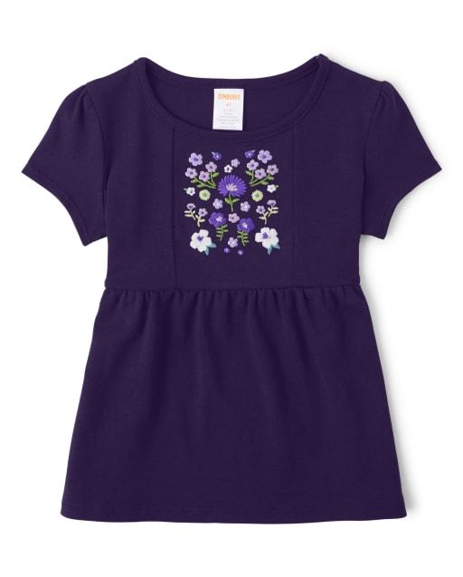 Top para niñas de manga corta con bordado violeta floral - Whooo ' s Cute