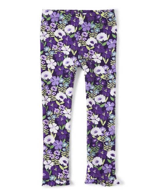 Leggings Niña Violeta De Punto Con Volantes Con Estampado Floral - Whooo ' s Cute