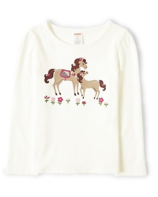 Camiseta de manga larga con textura de caballo para niñas - Pony Club