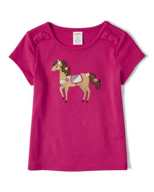 Camiseta de manga corta con lazo de caballo texturizado para niñas - Pony Club