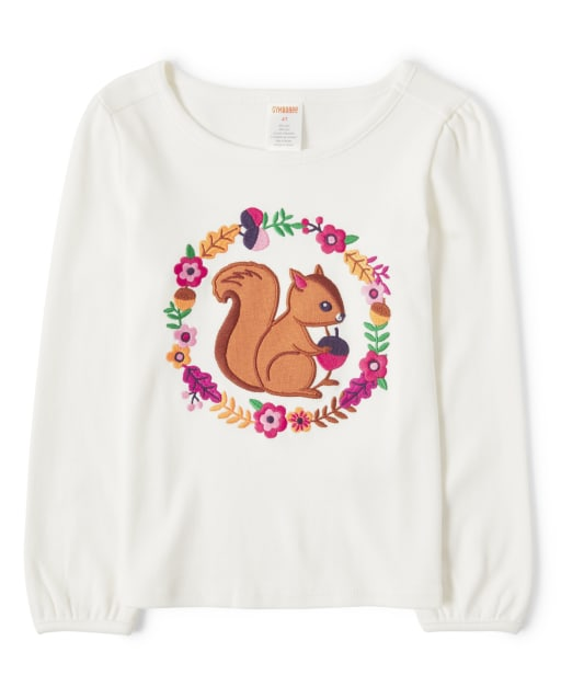 Girls Long Sleeve Embroidered Squirrel Top - Berry Cute