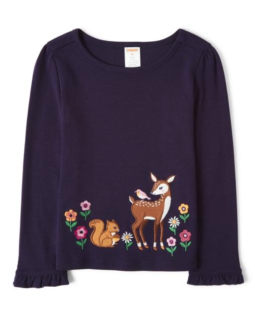Girls Long Sleeve Embroidered Deer Top - Berry Cute