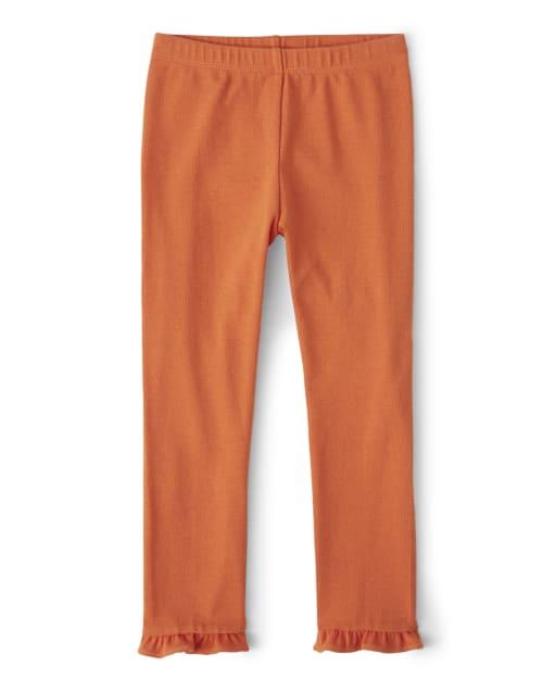 Girls Knit Ruffle Cropped Leggings - Lil' Pumpkin