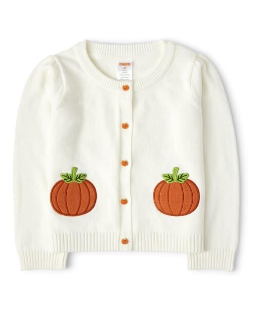Girls Long Sleeve Embroidered Pumpkin Cardigan - Lil' Pumpkin