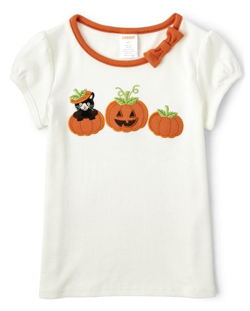 Girls Short Sleeve Embroidered Cat And Pumpkin Top - Lil' Pumpkin