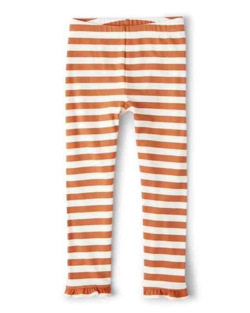 Girls Striped Knit Ruffle Leggings - Lil' Pumpkin