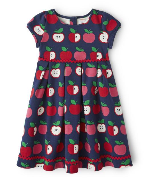 Girls Short Sleeve Apple Print Ponte Knit Dress - Candy Apple