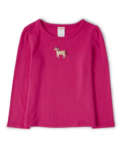 Top de caballo bordado de manga larga para niñas - Pony Club