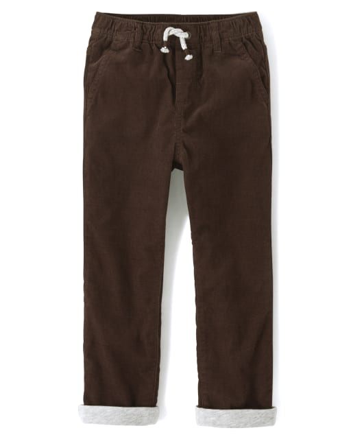 Boys Corduroy Pull On Roll Up Pants - Harvest