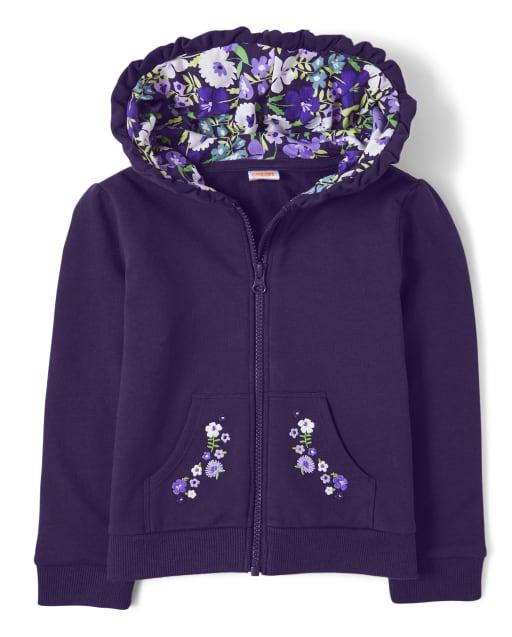 Sudadera con capucha y cremallera de vellón floral violeta bordada de manga larga para niñas - Whooo ' s Cute