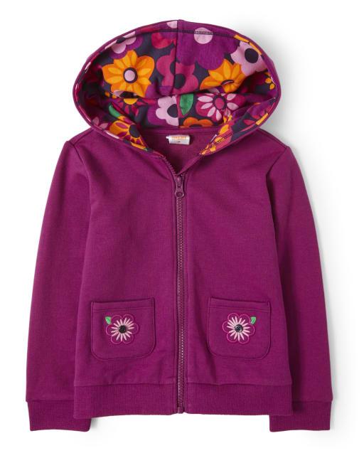 Girls Long Sleeve Embroidered Flowers Fleece Zip Up Hoodie - Berry Cute