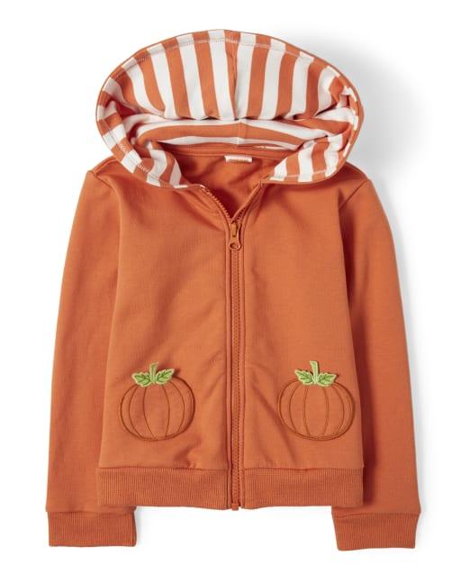 Girls Long Sleeve Embroidered Pumpkin Zip Up Hoodie - Pumpkin Patch