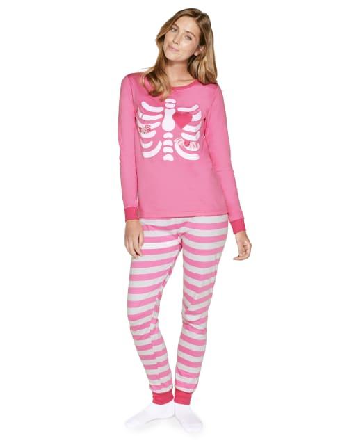 Womens Matching Family Long Sleeve Skeleton Cotton 2-Piece Pajamas - Gymmies