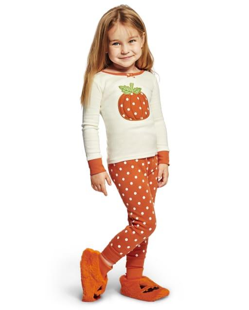 Girls Long Sleeve Lil' Pumpkin Snug Fit Cotton 2-Piece Pajamas - Gymmies