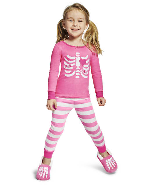 Girls Matching Family Long Sleeve Skeleton 2-Piece Snug Fit Cotton Pajamas - Gymmies