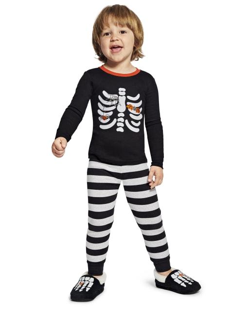 Boys Matching Family Long Sleeve Skeleton Snug Fit Cotton 2-Piece Pajamas - Gymmies