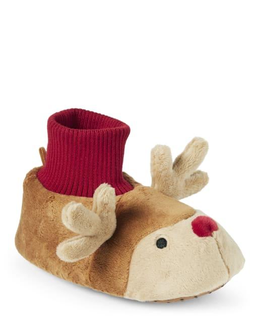 Unisex Girls And Boys Reindeer Slippers