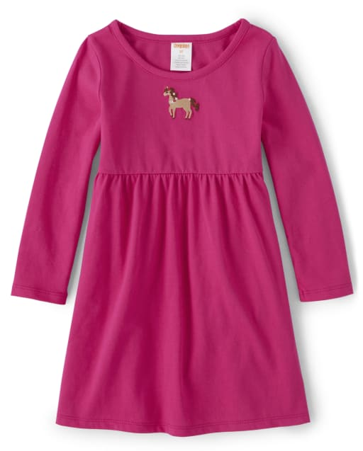 Vestido de punto de poni bordado de manga larga para niñas - Every Day Play