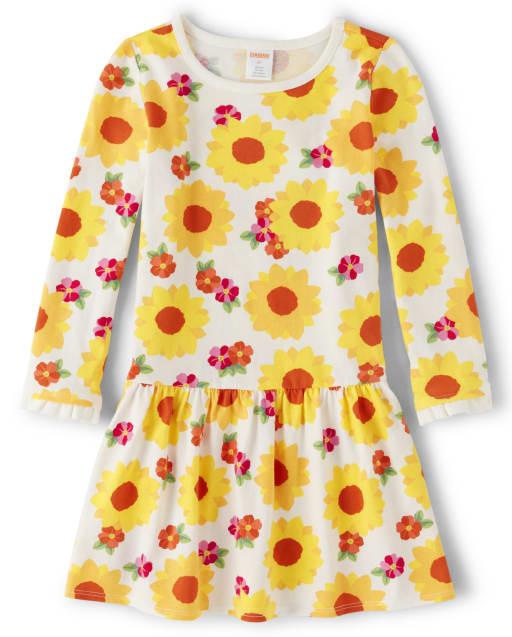 Girls Long Sleeve Flower Print Knit Peplum Dress - Every Day Play