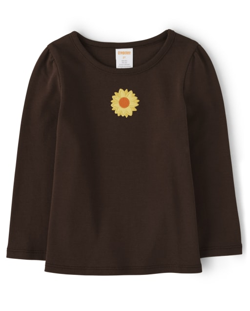 Girls Long Sleeve Embroidered Sunflower Top - Every Day Play