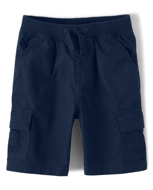 Boys Poplin Knit Waist Pull On Shorts
