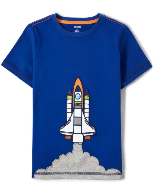 Unisex Short Sleeve Embroidered Rocket Ship Top - Future Astronaut