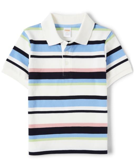 Boys Short Sleeve Striped Polo - Country Club