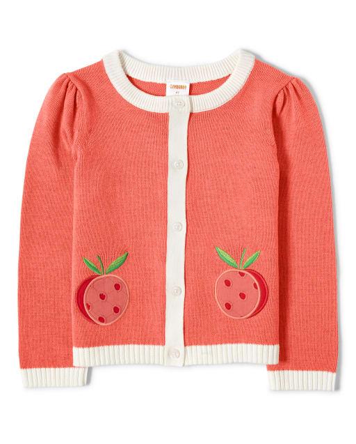 Girls Long Sleeve Embroidered Peach Cardigan - Pretty Peach