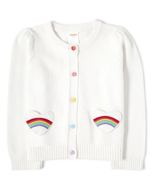 Girls Long Sleeve Embroidered Rainbow Heart Pocket Cardigan - Sunshine Time