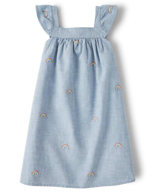 Girls Short Ruffle Sleeve Embroidered Rainbow Print Chambray Dress - Sunshine Time