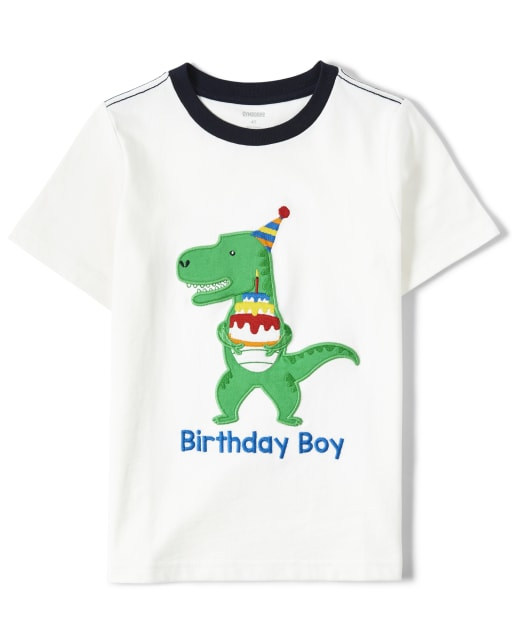 Boys Short Sleeve Embroidered Dino Top - Birthday Boutique