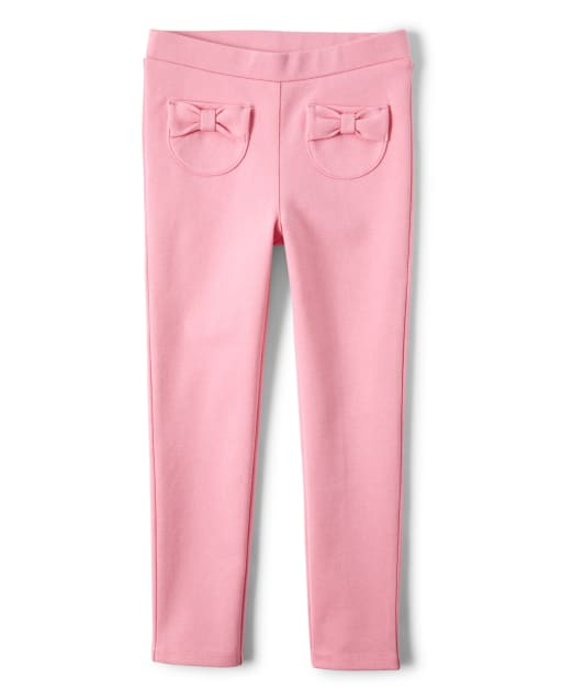 Girls Bow Ponte Knit Jeggings - Garden Party